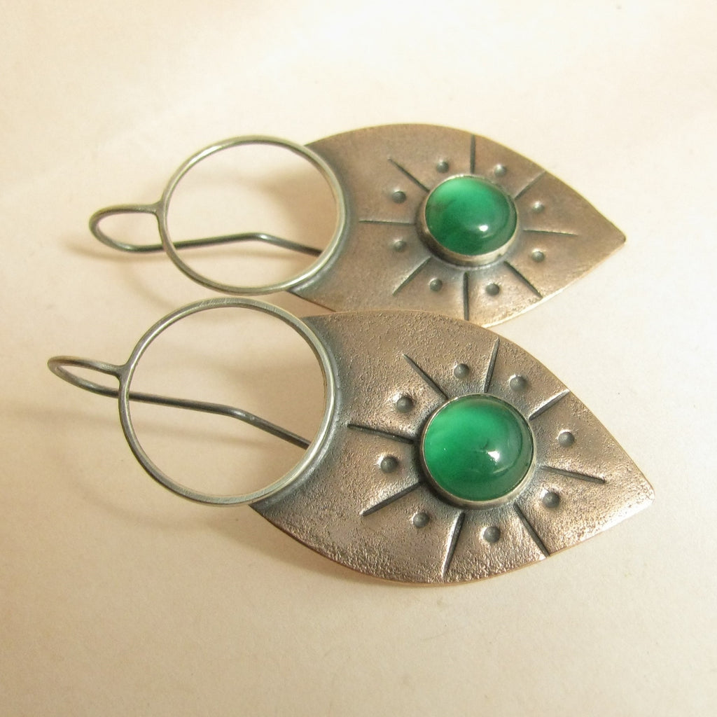 Green Onyx And Copper Earrings, Large Mixed Metal Earring - Mocahete - 1
