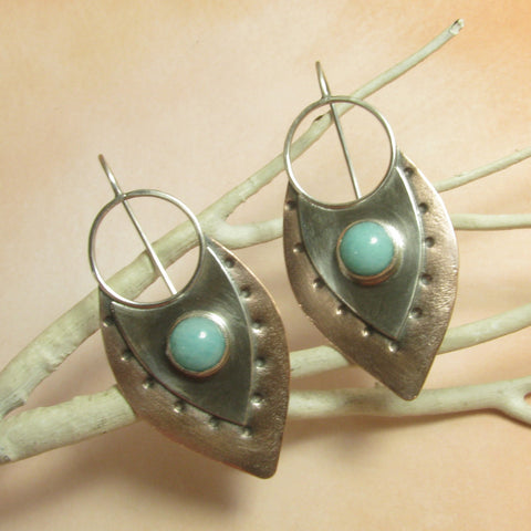 Sterling Silver And Copper Mixed Metal Amazonite Earrings - Mocahete - 1
