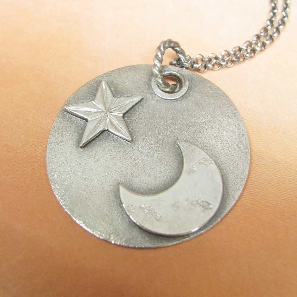 Argentium Sterling Silver Moon And Star Pendant Necklace, Artisan Metalsmith Jewelry - Mocahete - 1