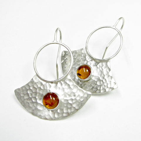 Tribal Inspired Amber Earrings, Argentium Sterling Silver Shield Earrings - Mocahete - 1