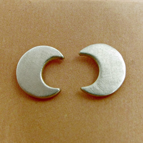 Sterling Silver Crescent Moon Stud Earrings, Argentium Silver Post Earrings - Mocahete - 1