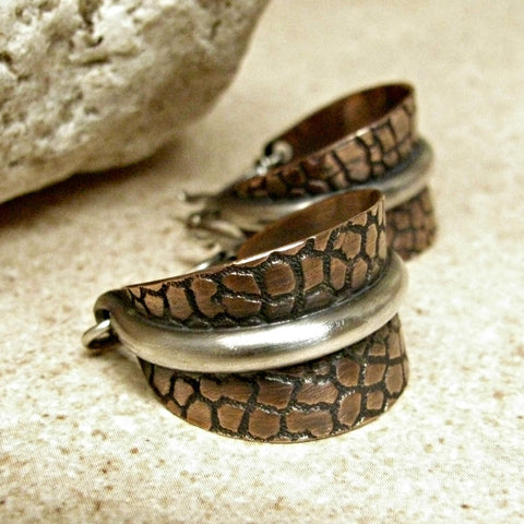 Mixed Metal, Sterling Silver And Copper Two Tone Basket Hoop Earrings