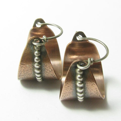 Contemporary Mixed Metal Sterling Silver And Copper Basket Hoop Earrings - Mocahete - 1