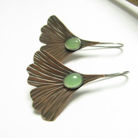 Copper Ginkgo Leaf Earrings With Green Adventurine And Sterling Silver - Mocahete - 1