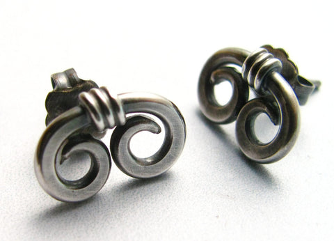 Contemporary Silver Spiral Stud Earrings, Spiral Post Earrings - Mocahete - 1