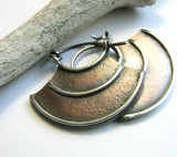 Rustic, Contemporary Tribal Sterling Silver And Copper Mixed Metal Hoop Earrings - Mocahete - 2