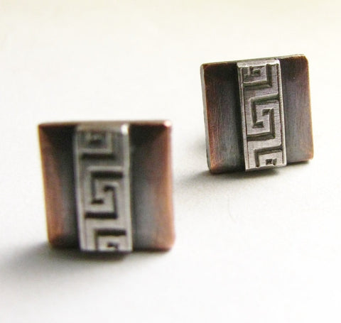 Copper And Sterling Silver Mixed Metal Greek Key Post Earrings, Metalsmith Jewelry - Mocahete - 1