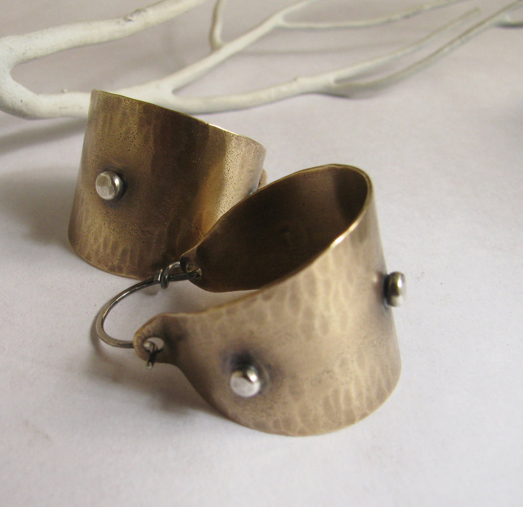 Mixed Metal Bronze And Sterling Silver Basket Hoop Earrings - Mocahete - 1