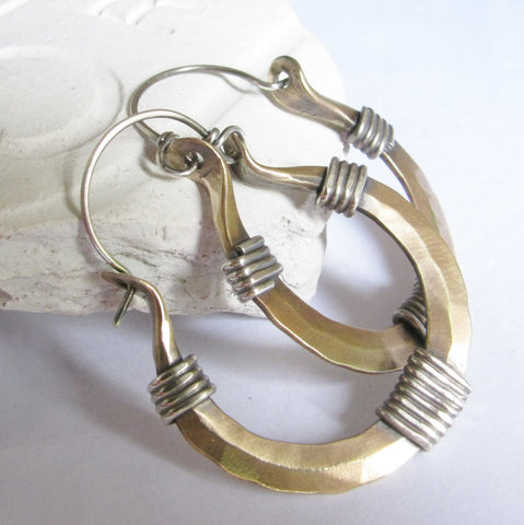 Sterling Silver And Bronze Forged Hoop Earrings, Metalsmith jewelry - Mocahete - 1