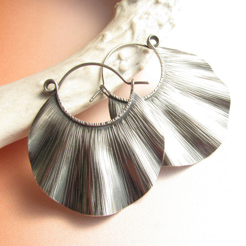 Large Argentium Ruffle Hoop Earrings, Metalsmith jewelry - Mocahete - 1