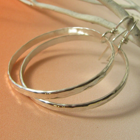 Large Hammered Argentium Sterling Silver Hoop Earrings - Mocahete - 1