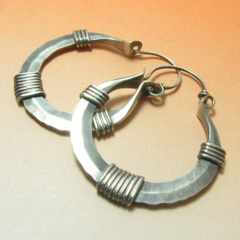 Large Argentium Sterling Silver Wrapped Hoop Earrings by Mocahete - Mocahete - 1