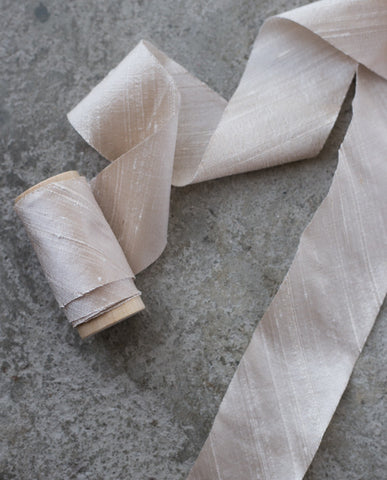 silk ribbon in cream