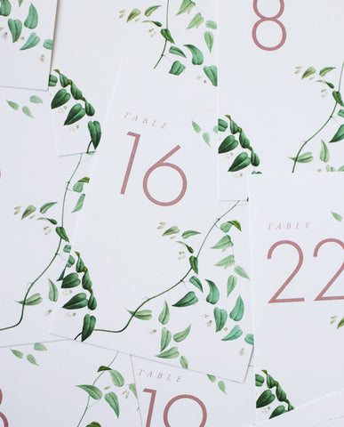 modern greenery table numbers