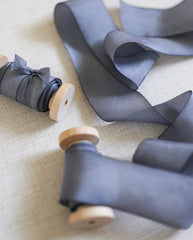 silk ribbon in dark blue