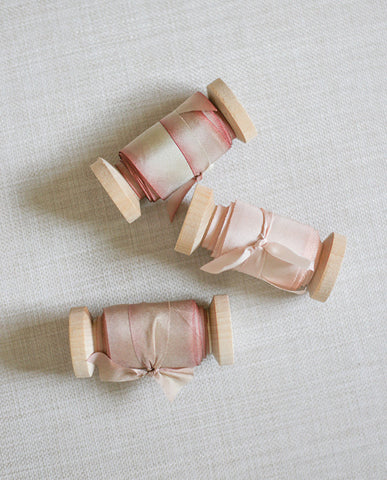 silk ribbon in light pink