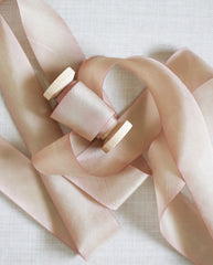 silk ribbon in sunset pink