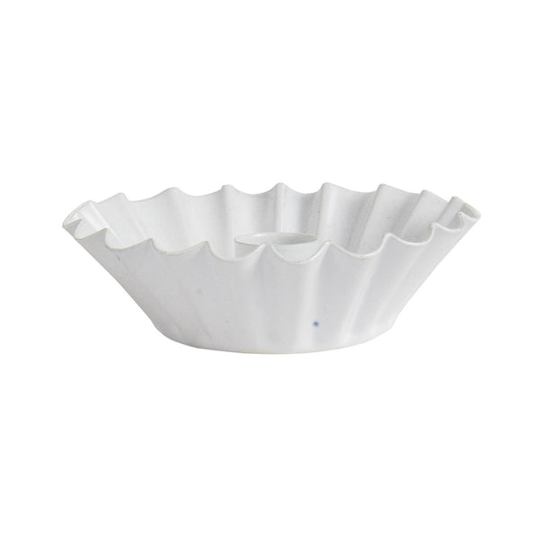Small Wavy Edge Candle Holder - White