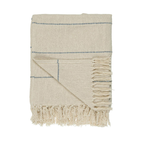 Cream Throw with Blue Stripes