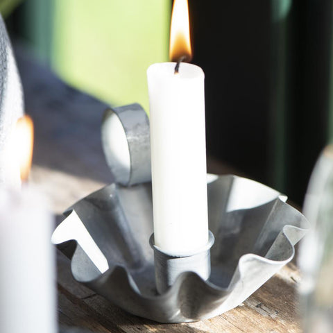 Wavy Edge Candle Holder with Handle - Zinc
