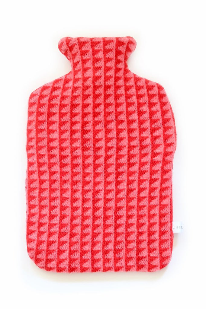 Lambswool Hot Water Bottle - Pinks & Red