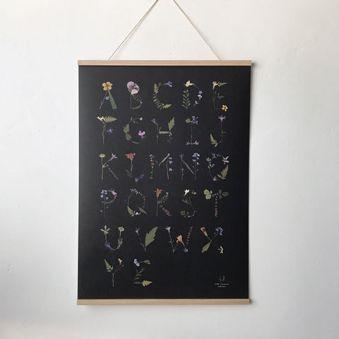Pressed Flower Alphabet Poster (Black)