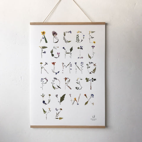 Pressed Flower Alphabet Poster (White)