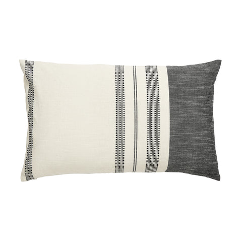Black & White Embroidered Striped Cushion Cover