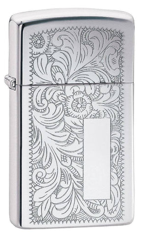 Zippo Lighter - Slim Venetian High Polish Chrome - Lighter USA