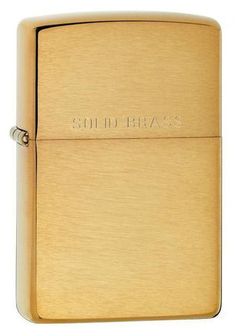 Zippo Lighter - Brushed Brass Solid Brass Engraved - Lighter USA