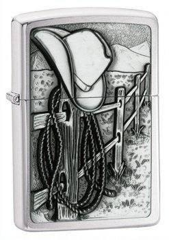 Zippo Lighter - Resting Cowboy Brushed Chrome - Lighter USA - 1