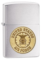 Zippo Lighter - Air Force Crest Brushed Chrome