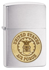 Zippo Lighter - Air Force Crest Brushed Chrome - Lighter USA