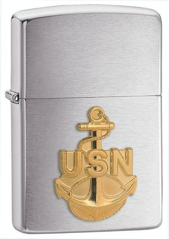 Zippo Lighter - Navy Anchor Brushed Chrome - Lighter USA