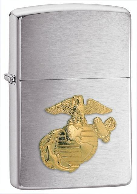 Zippo Lighter - Marines Emblem Brushed Chrome - Lighter USA