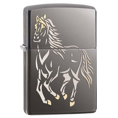 Zippo Lighter - Running Horse Black Ice Finish - Lighter USA