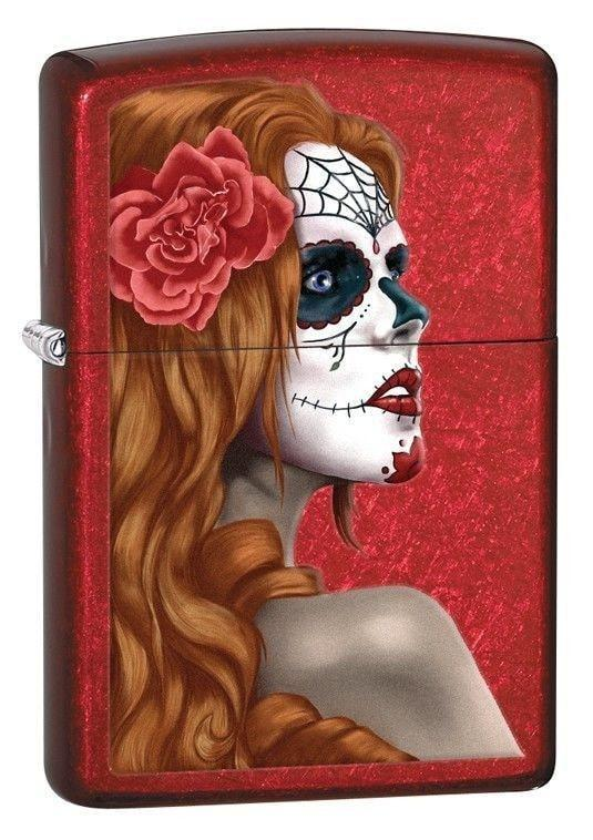 Zippo Lighter - Day of the Dead Candy Apple Red - Lighter USA - 1