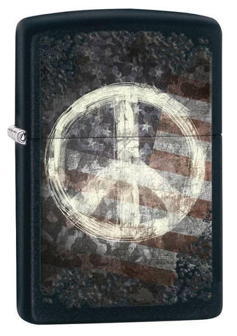 Zippo Lighter - Peace on American Flag Black Matte - Lighter USA - 1