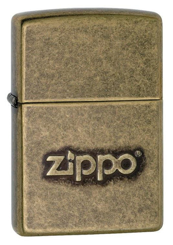 Zippo Lighter - Classic w/ Logo Antique Brass - Lighter USA - 1