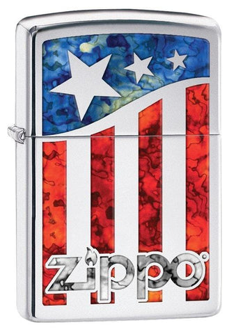 Zippo Lighter - American Flag High Polish Chrome - Lighter USA - 1