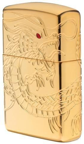Zippo Lighter - Asian Dragon Armor High Polish Gold - Lighter USA