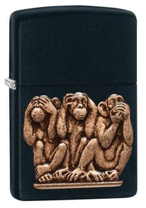 Zippo Lighter - Three Monkeys Black Matte