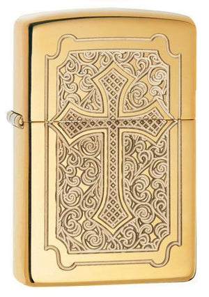 Zippo Lighter - Eccentric Cross High Polish Brass