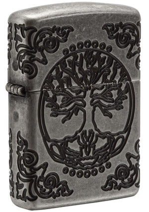 Zippo Lighter - Armor Tree of Life Antique Silver