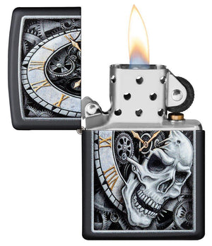 Zippo Lighter - Skull Clock Design