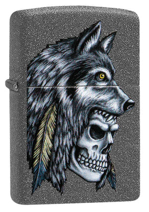 Zippo Lighter - Wolf Skull Feather Design