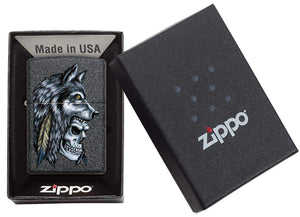 Zippo Lighter - Wolf Skull Feather Design - Lighter USA