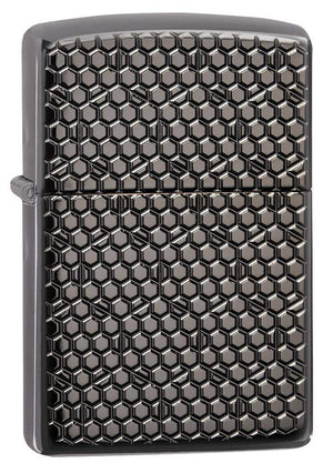 Zippo Lighter - Hexagon Deep Carve Black Ice
