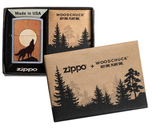 Zippo Lighter - Woodchuck USA Howling Wolf Street Chrome