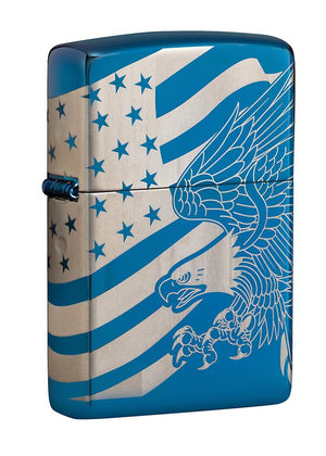 Zippo Lighter - Patriotic MultiCut High Polish Blue